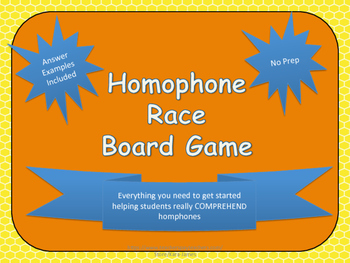 Homophone Race Board Games- Spelling and Meaning