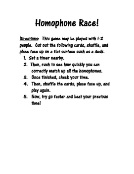 Homophone Race Game!
