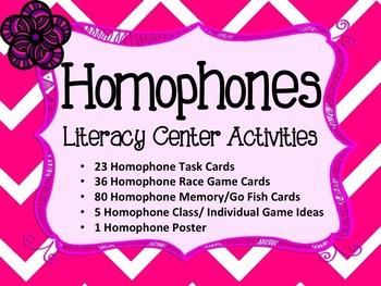 Homophones Literacy Center Activities Task Card Bundle
