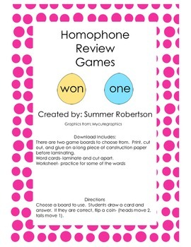 Homophone Review Game and Worksheet