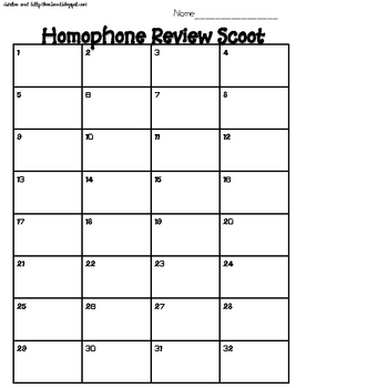Homophone Review Scoot!!!