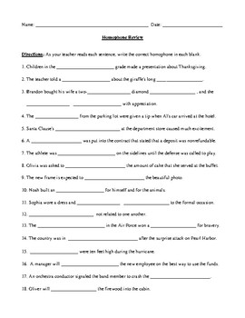 Homophone Review Worksheet, Warm-up, or Game with Prompt and Answer Key