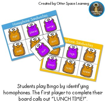 Homophone Sandwiches - Memory and Bingo Game