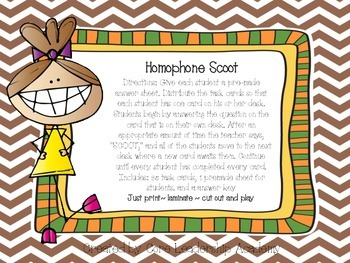 Homophone Scoot Game