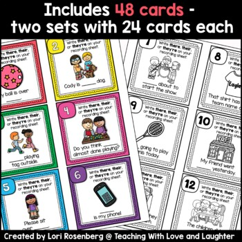 Homophone Task Cards or Scoot: There, Their, They're