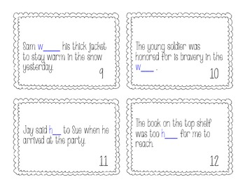 Homophone Scoot/Task Cards