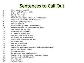 Homophone Sentence Builder: Interactive Whole Class Game