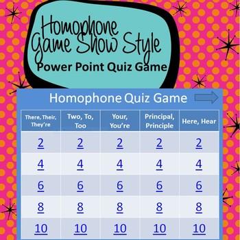 Homophone Power Point Quiz Game