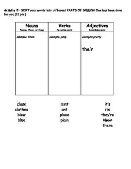 Homophone Spelling Packet