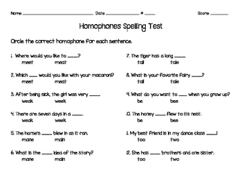 homophone spelling test by b 39 s bees teachers pay teachers. Black Bedroom Furniture Sets. Home Design Ideas