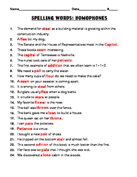 Homophone Spelling Words