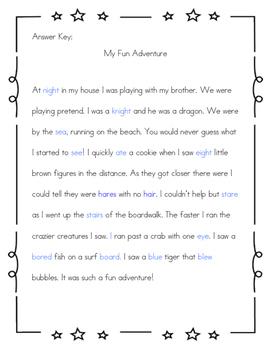 Homophone Story: My Fun Adventure