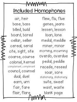 Homophone Student Book -  Including Word and Definition Cards