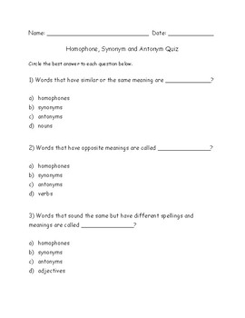 Synonyms And Antonyms Quiz Worksheets & Teaching Resources | TpT