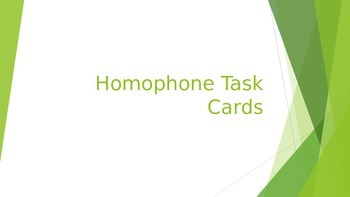 Homophone Task Card Powerpoint for Daily 5 Stations and DIY for PBL