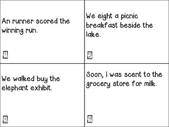Homophone Task Card Review