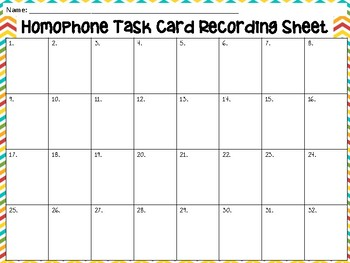 Homophones Task Cards (32) - Set 2 Common Core Aligned