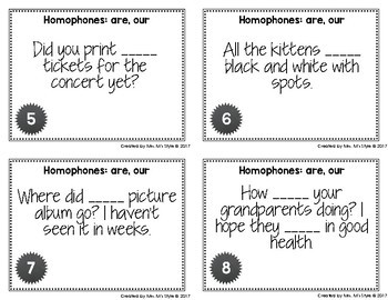 Homophone Task Cards: Are and Our