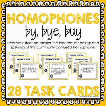 Homophone Task Cards: By, Bye, Buy