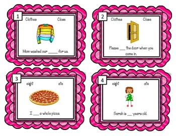 Homophone Task Cards.  English Homonym Activity Center Review
