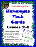 Homonym Task Cards Grades 2-4
