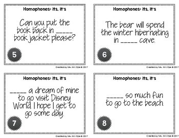 Homophone Task Cards: Its and It's