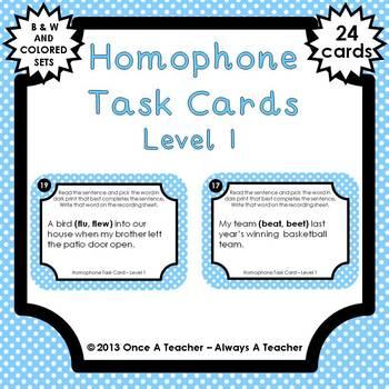 Homophone Task Cards - Level 1