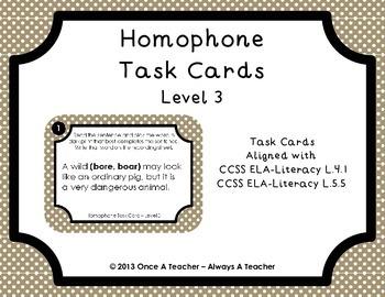 Homophone Task Cards - Level 3