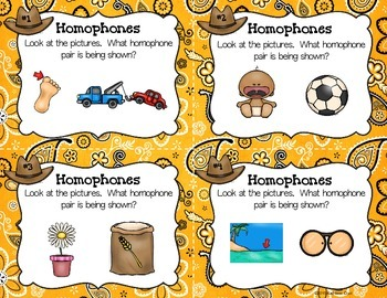 Homophone Task Cards - Picture Cards