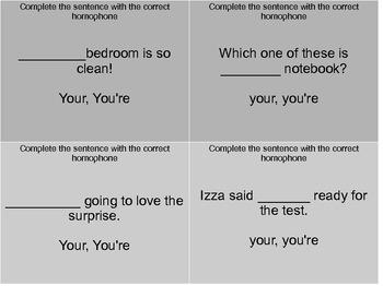 Homophone Task Cards Set 1