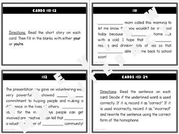 Your & You're: Homophone Task Cards