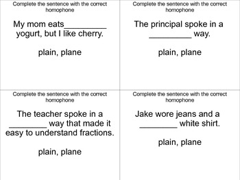 Homophone Task Cards Set 3