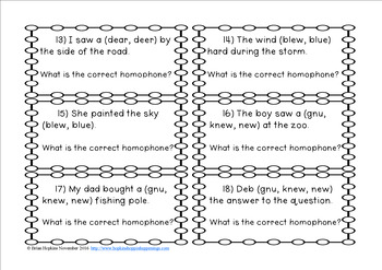 Homophone Task Cards Set Two