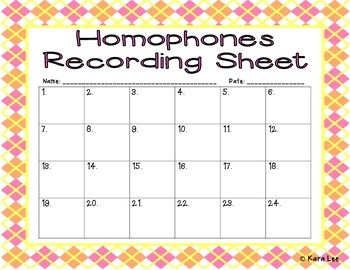 Homophone Task Cards - Set of 24