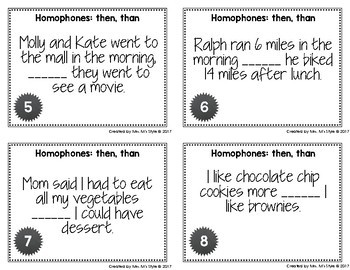 Homophone Task Cards: Than and Then