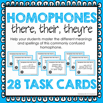 Homophone Task Cards: There, Their, They're