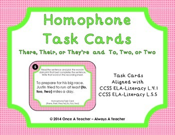Homophone Task Cards - There, Their, or They're and To, Two, or Too