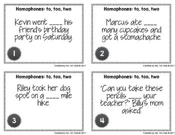 Homophone Task Cards: To, Too, Two