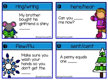 Homophone Task Cards {Winter Theme}