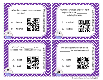 Homophone Task Cards (With and Without QR Codes)