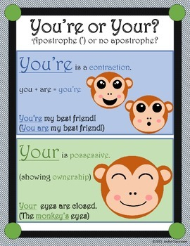 Homophones Task Cards- Your or You're
