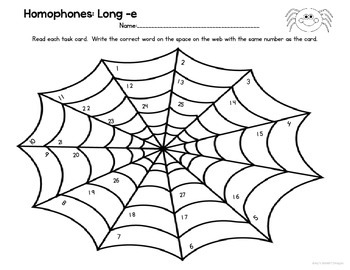 Homophone Task Cards: in the Web Long -e