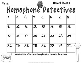 Homophone Task Cards or SCOOT Game with Detectives
