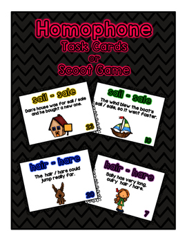 Homophone Task Cards or Scoot Game