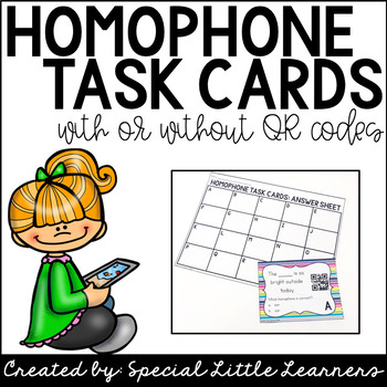 Homophone Task Cards {with or without QR codes}