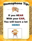 Homophone Tip Poster: Here and Hear