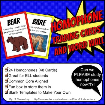 Homophone Trading Cards and Word Wall