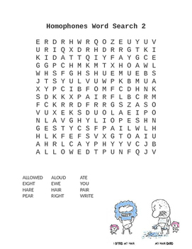 7 Homophone Word Searches