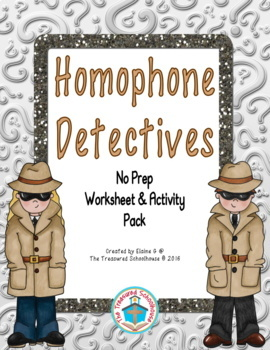 Homophone Worksheet & Activity Pack with Detectives