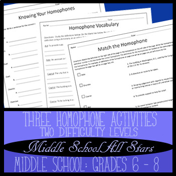Homophone Worksheets, 3 Activities, 2 Difficulty Levels